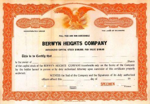 Berwyn Heights Company Specimen Stock Certificate