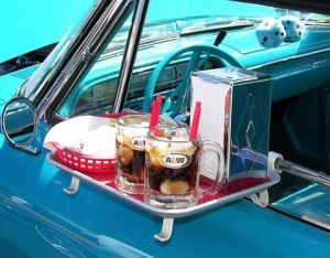 1960s fast food meal in car
