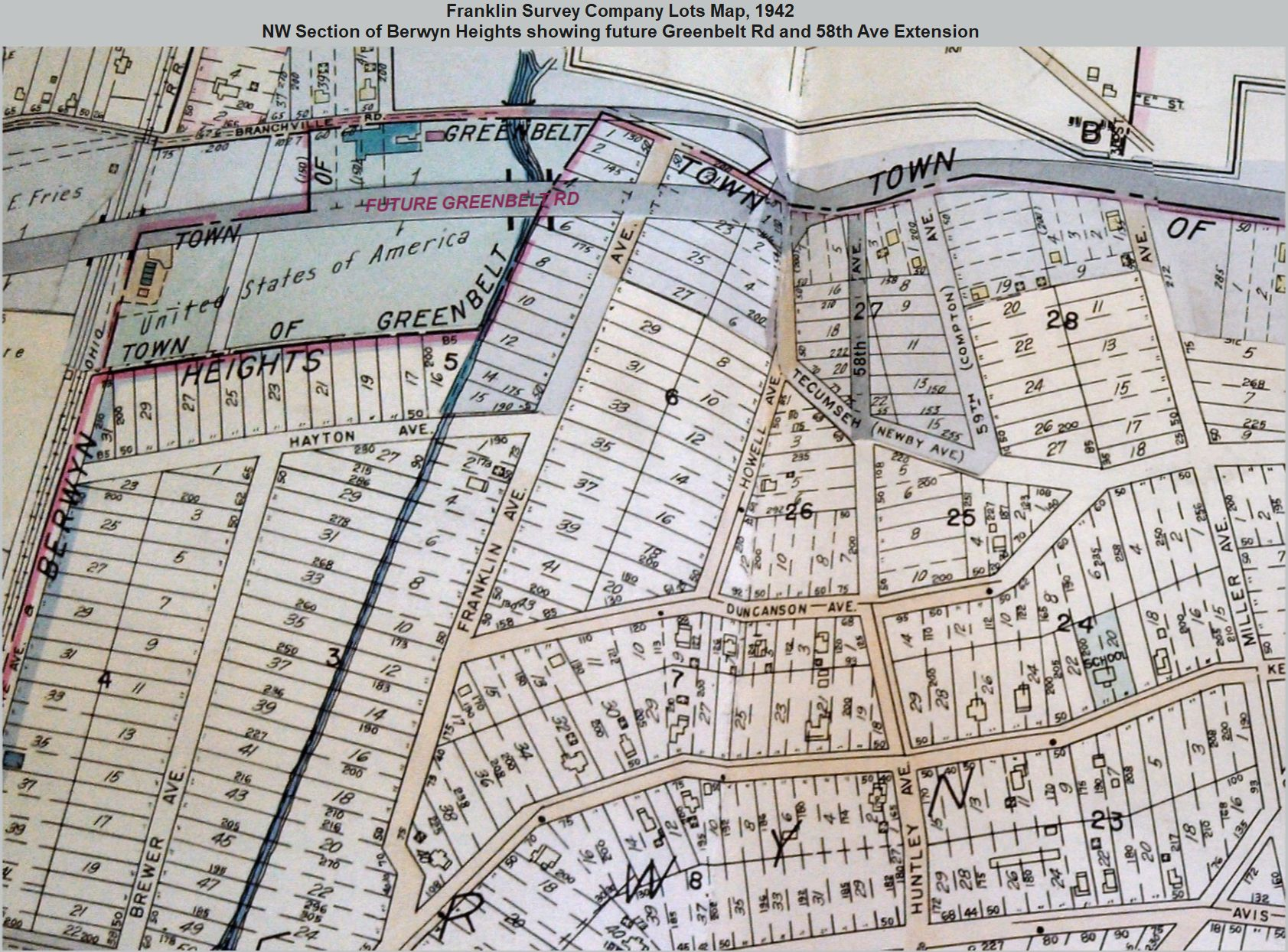 58th Ave Extension, Franklin Survey Co lots map, 1942, inscrbd
